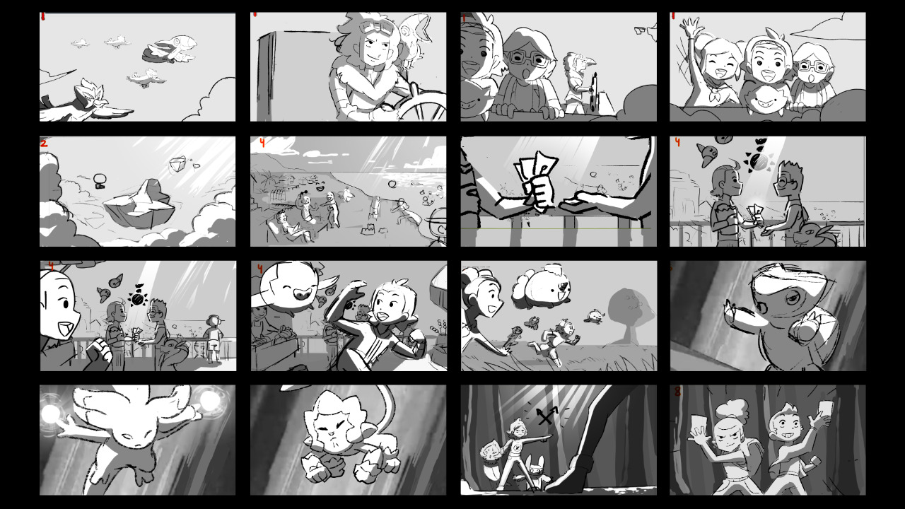 Storyboards used to plan the Temtem intro video.